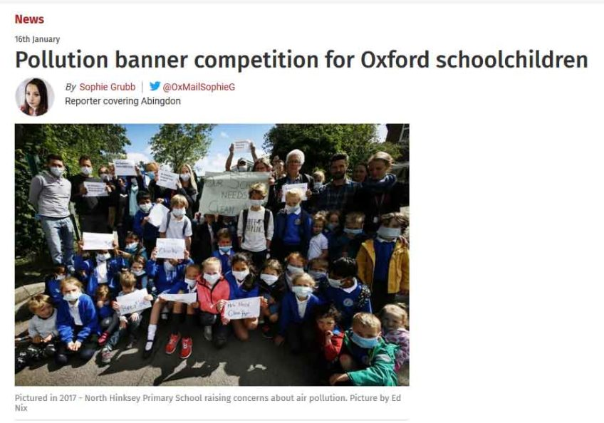 Pollution banner competition for Oxford schoolchildren – deadline March 6